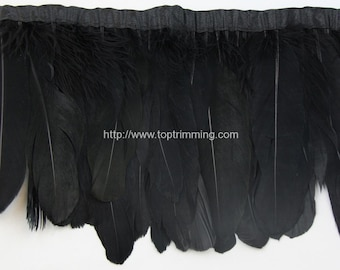Duck duck goose Black feather fringe (selling per yard)
