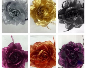 Large Fabric Flowers with Feathers