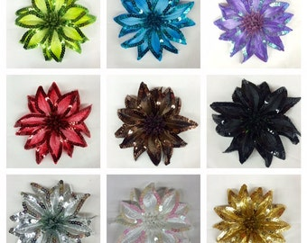 Fabric Flowers with Sequin Edges approx. 6 inches