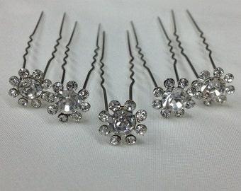 12 piece Rhinestone Hair Pins, Rhinestone Bobby Pins, Bridal Hair Pins, Wedding Hair Pins