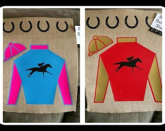 Jockey Silks Burlap Flag/Free Shipping!!/ horses racing pet animal