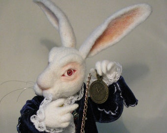 Needle Felted White Rabbit Alice in Wonderland