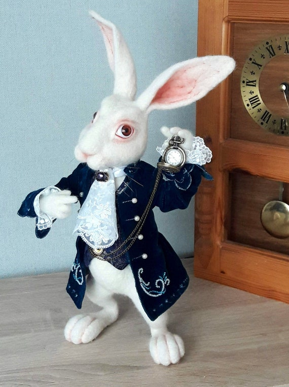 112 Scale Hand Painted White Rabbit Toy