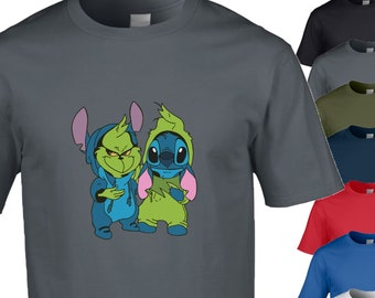 f962199813b1 The Grinch and Stitch in onesies, cute pop art design for any occasion,  Birthdays or Christmas