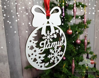 Bauble Acrylic FORD OVAL Christmas Tree Decoration Gift personalised engraved