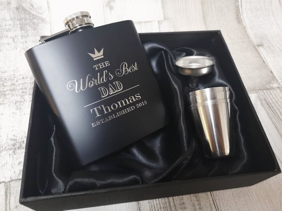 6oz black personalised Hip Flask.groomsfavours gift with box choice bf14
