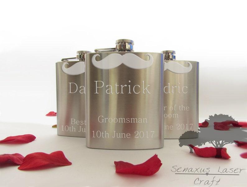 Personalised Engraved 6oz silver Hip Flask Usher Best Man Birthday Box shf3