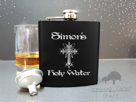 Holy Water Design Stainless Steel Hip Flask 6 oz