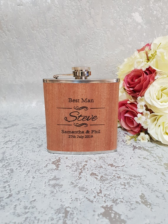 6oz Hip Flask Dark Wood  Stag Do! Personalised Any Message! Wedding Best Man