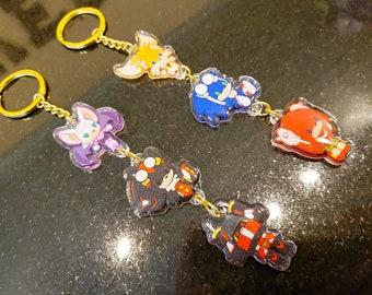 Sonic Heroes: Team Hero + Team Dark Stacked Chain Charm Set Double Sided Glitter Epoxy Acrylic