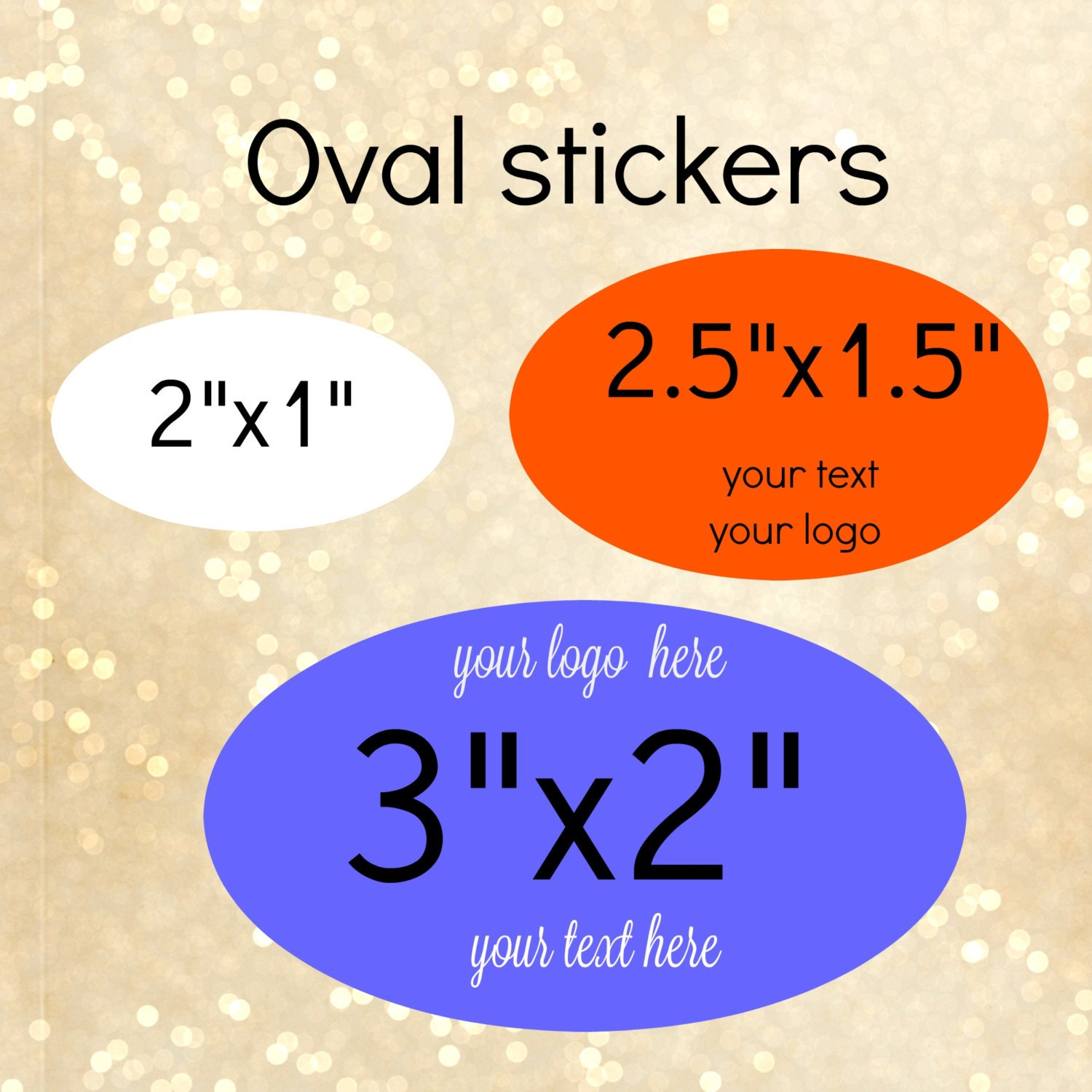 Custom oval stickers different sizes with your words or text product stickers personalized stickersoval labelstickers logo stickers