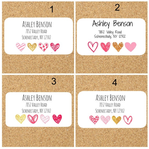 cute return address labels with hearts mailing labels return etsy