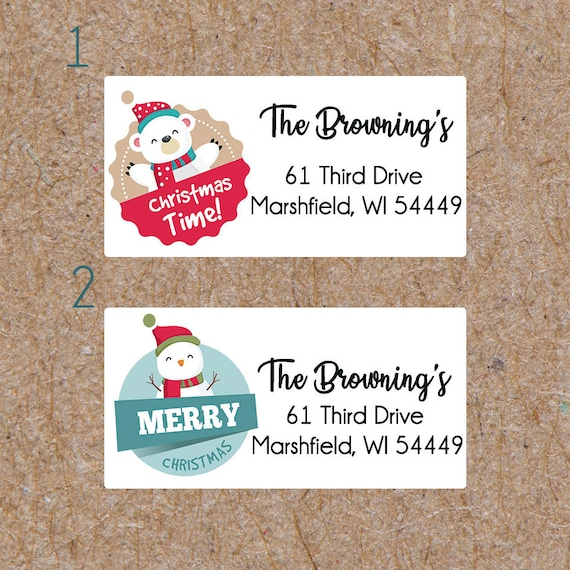 personalized return address labels christmas address labels etsy