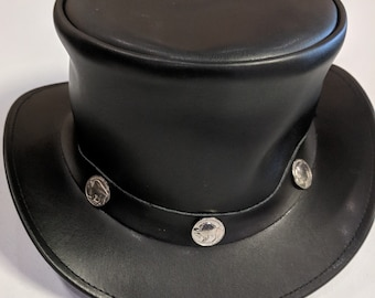 5eed225d7a89b Black Leather Hat with Buffalo Pendant - Steampunk Style