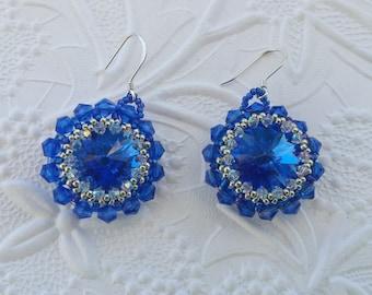 Blue sapphire Swarovski crystal earrings