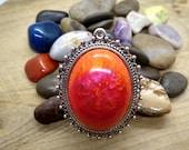 Orange Fire Resin Pendant Necklace