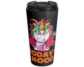Grumpy Mood Unicorn Black Stainless Steel Travel Mug