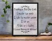 Writer's To Do List Wall Art Printable