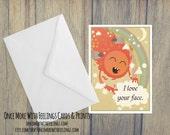 I Love Your Face Love/Friendship Card (Blank Inside) (A6) (ITEM# C40)