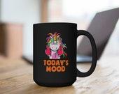 Grumpy Mood Unicorn Black Mug 15oz