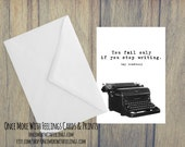 You Only Fail If You Stop Writing Ray Bradbury Quote Vintage Typewriter Card for Writers (BLANK INSIDE) (ITEM# C65)