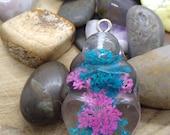 Curvy Goddess Pink & Blue Floral Pendant