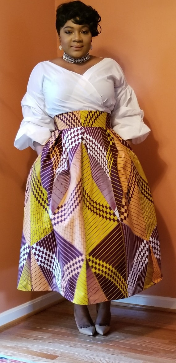 clothing wax order gathered African dress to skirt African African Dutch Made waist zqwt4px