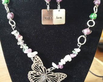 Lilac wings necklace and earrings set
