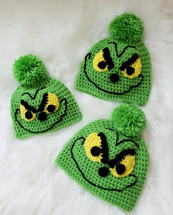 Crochet Grinch Inspired Hat Winter Hat Christmas Hat. FREE  593b702d021