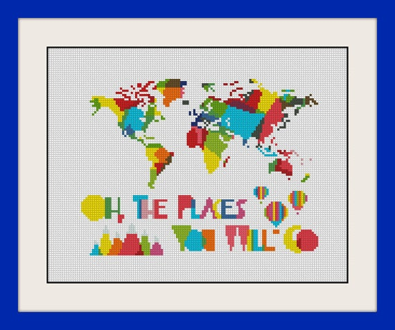 Oh the places youll go world map nursery artwork kids etsy image 0 gumiabroncs Images