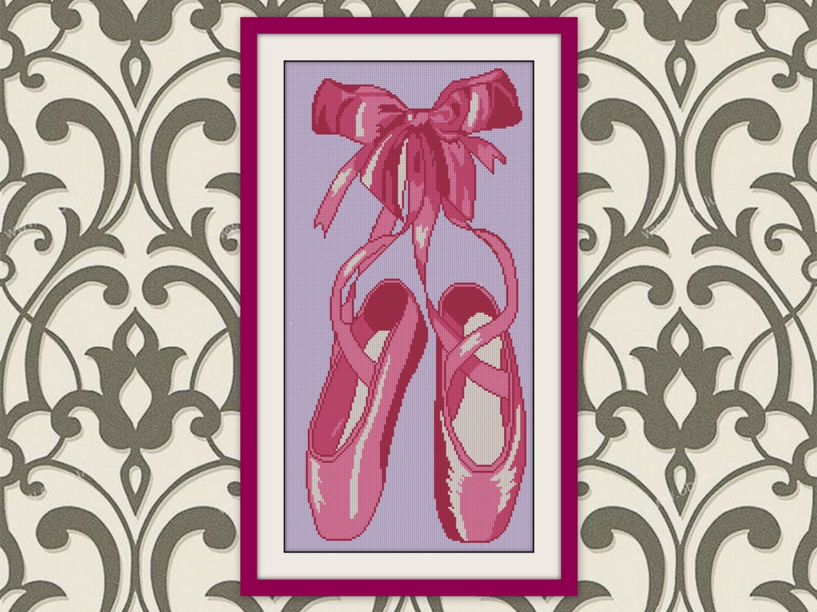 silhouette pointe shoes ballet counted cross stitch, bogo, pdf counted ballet cross stitch pattern,r130
