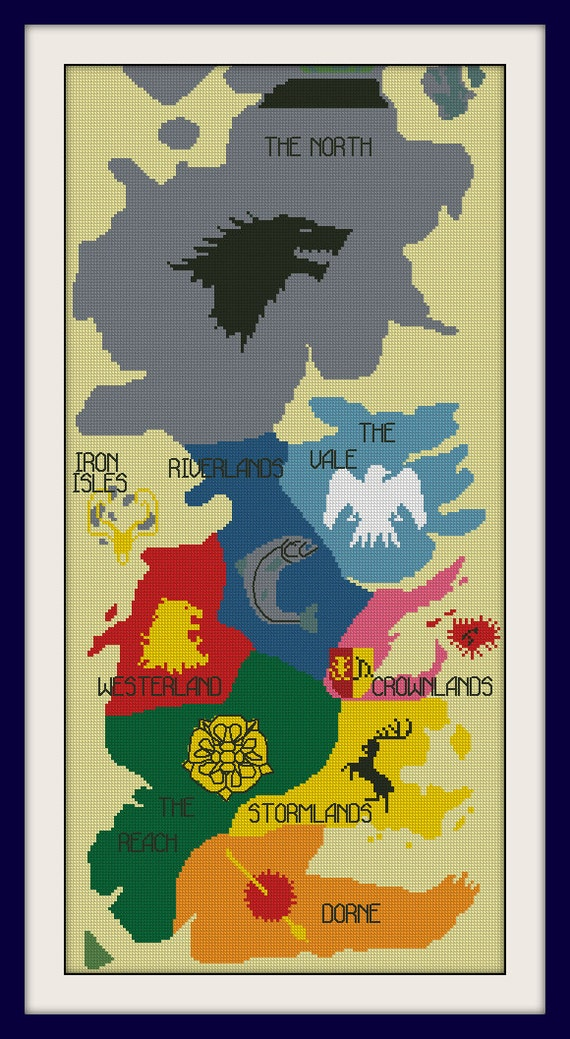 Map Of Westeros Map of Westeros cross stitch pattern Game of Thrones Cross | Etsy Map Of Westeros