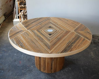 Custom Reclaimed Lath Dining Table with Pedestal Base