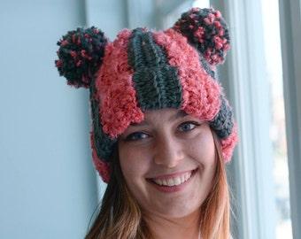 PATTERN: Striped Double PomPom Hat   Crochet Beanie Pattern - Boho Style - Darn Good Yarn - EcoFriendly - Super Soft