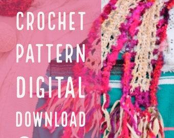 CROCHET PATTERN: Goddess Vibes / Bohemian Fringe Scarf / Eco Friendly Wrap / Boa / Dress Up Scarf