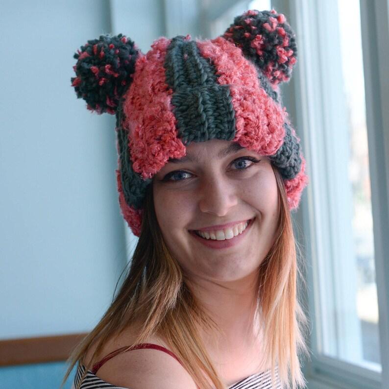 PATTERN: Striped Double PomPom Hat  Crochet Beanie Pattern  image 0