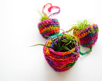 Crochet pattern! Air Plant Hanger Pattern (Crochet) Made With Darn Good Yarn   Recycled Silk   Tiered Airplant Hanger   Crochet Pattern