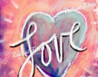 LOVE Digital Art Download - Phone Background, Ipad Background, Self Love, Love, Pastel, Heart, Inspired Art, Inspirational Art, Digital art