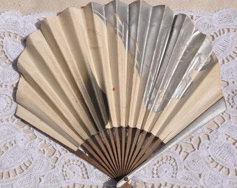Art Deco French Fan, Silver and White, Female Face, Antique Fan French Paper Fan, Balloon Shape, Advertising Hand Fan, Ladies Fan, France