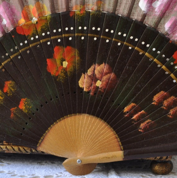 Antique Asian Hand Fan Vintage Gold Black Design Pink Flowers Ladies Japanese Handheld Mid Century Expandable Spanish Dance Party Fans Japan