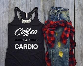 Workout Tank Top - Fitness Tank Top - Yoga Shirt - Gym Shirt - Workout Shirt - Fitness Tanks - Womens Tank Tops - Coffee & Cardio GOLD
