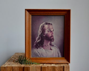 "1941 Kriebel and Bates Litho Print Head of Christ in Wood Frame | 12 1/8"" x 10 1/8"" 