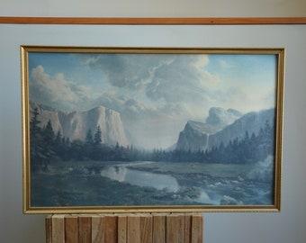 "Dino Massaroni ""Sierra Sunrise"" YOSEMITE National Park Framed Print | Vintage Yosemite Mountains with Stream Landscape Print"