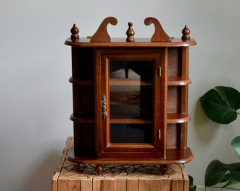 Vintage Wood Curio Cabinet | Wall Or Free Standing Wood Cabinet Display  Case | Essential Oils   Knick Knack Cabinet With Glass Door