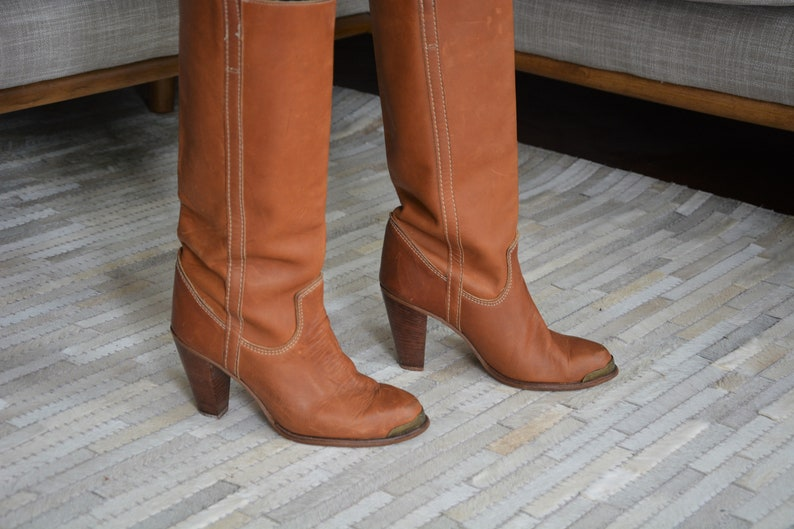 Vintage Women/'s Tall Leather Boots by Zodiac   Genuine Camel Brown Leather   Festival Wear Cowgirl Western Heeled Boots Size 7