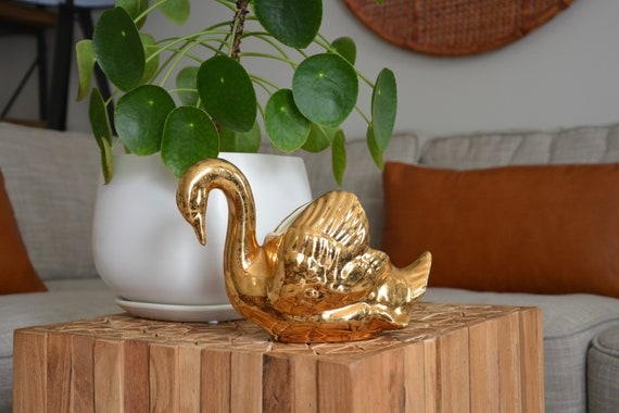 small decorative metal basket birds and flowers china.htm antique hand decorated gold swan planter little pearl china etsy  hand decorated gold swan planter