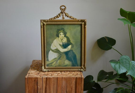 Vintage ornate gold framed mother and child victorian portrait