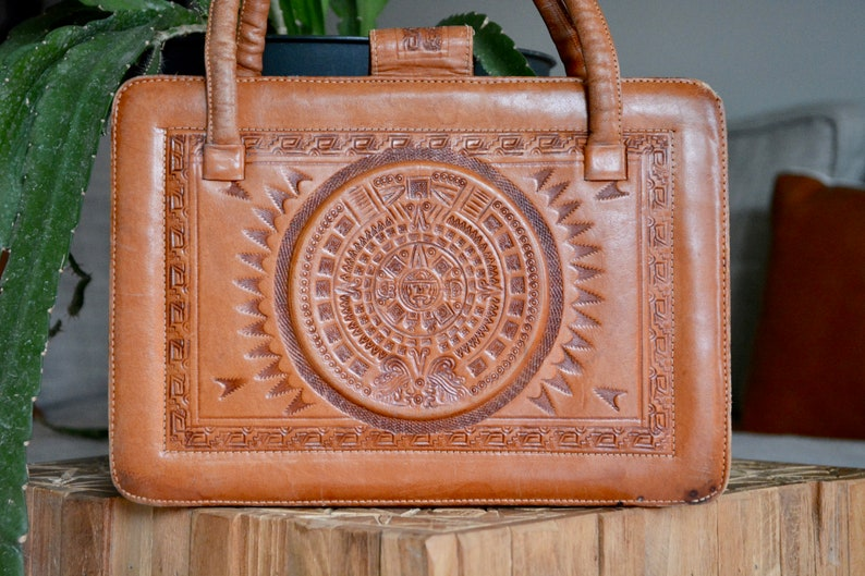 5e4b3a1b1ada Vintage Tooled Leather Purse with Bullfighter and Mayan Aztec