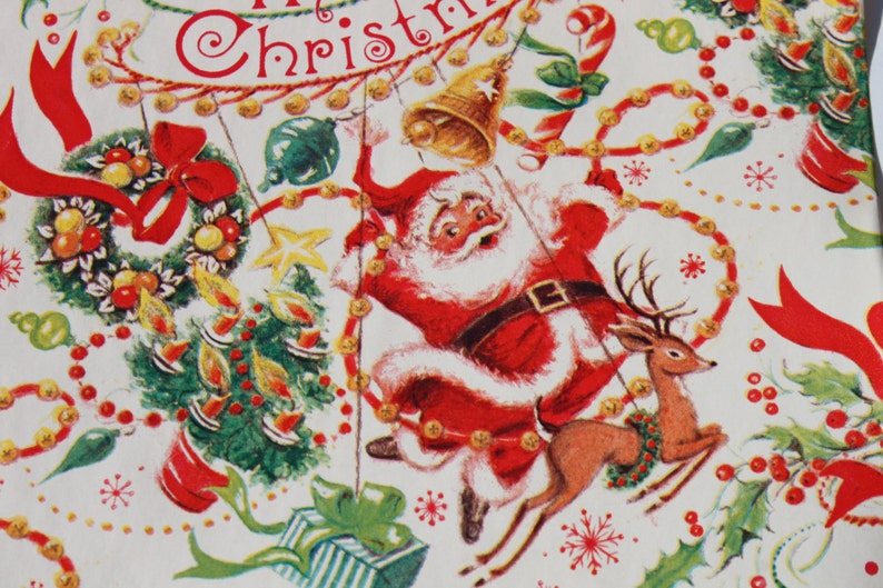 Vintage Santa Claus and Reindeer Christmas Wrapping Paper By The Yard for Small Gifts 8  wide Atomic Age Retro ... & Vintage Santa Claus and Reindeer Christmas Wrapping Paper By | Etsy