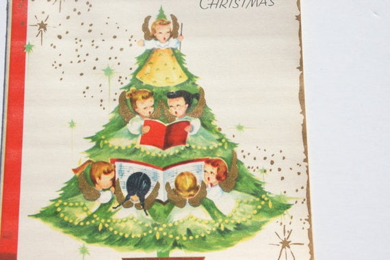 Angels Christmas Cards.Vintage Unused Adorable Angel Christmas Card Angels In Christmas Tree Christmas Holiday Card